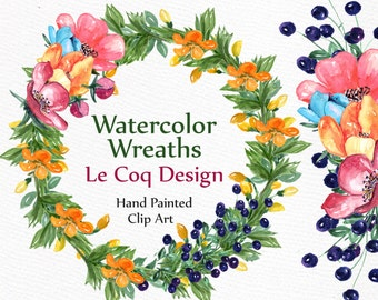 "Watercolor Flower wreaths: ""FLORAL WREATHS"" Wedding clipart floral clipart DIY elements wedding invitation Hand painted  floral frame"