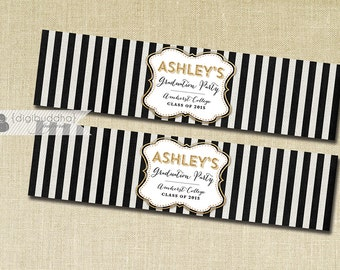 Black Stripe & Gold Glitter Water Bottle Labels Drink Label Black and White Graduation Birthday Party DIY Drink Bottle Labels 8x2- Ashley