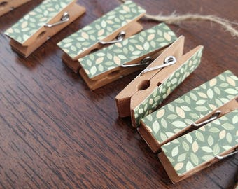 Baby Shower Clothesline Gift - Green Feathery Woodland Leaves - Chunky Mini Clothespin Clips w Twine for Display - Set of 12 - Country Chic