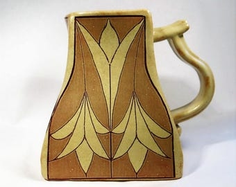 Art Deco Sepia Square Rustic Coffee Mug Handmade Ceramic Pottery Cup