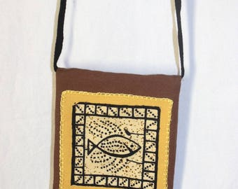 Brown shoulder bag / yellow fish print