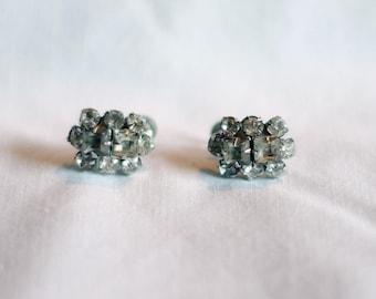 Vintage screw back costume jewelry earrings crystal