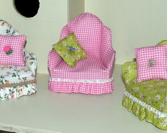 "Pattern for a Comfy Cottage Chair for Hitty and other 5"" to 8"" Dolls Instant Download"