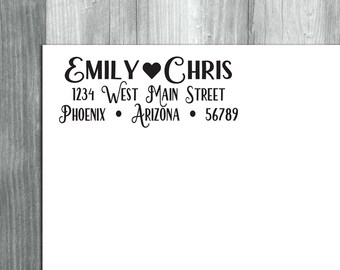 Custom Return Address Stamp, Return Address Stamp, Self Inking Stamp, Rubber Stamp, Wedding Stamp, Heart Address Stamp, Save the Date Stamp