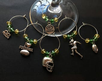 GREEN BAY PACKERS Football Wine Charms - Set of 6