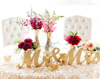Mr and Mrs Sign Wedding Sweetheart Table Decor Centerpiece Mr & Mrs Wooden Letter Large Thick Mr and Mrs Wedding Sign (Item - MTS100)