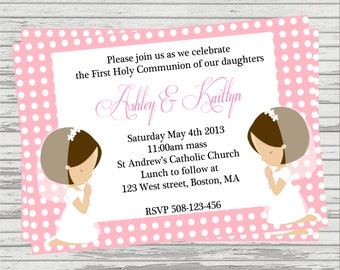 First Communion Twin Girls Custom DIGITALInvitation