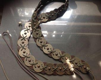 Vintage tie belt, brown, silver