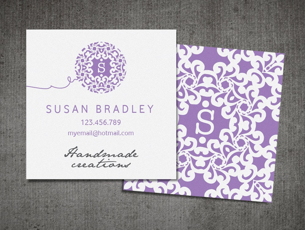 Square business card / knitting business / blog card /