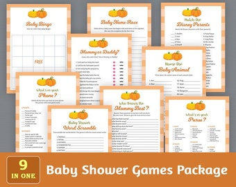 Baby Shower Games Package, Printable Party Games Bundle, Baby Shower Games Set Download, Fall Autumn Pumpkins, Unique Games Pack, SPKG, B015