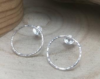 Hammered Sterling Silver Circle Stud Earrings Geometric Simple Plain Minimalistic