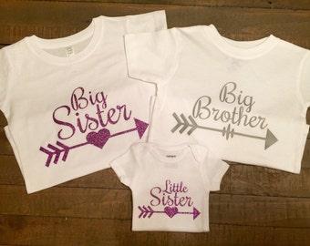 Big Sister, Big Brother, Little Sister Arrow Shirt Set