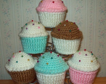 """Crochet Cupcake Pin Cushion with Pins - Choice of Cupcake """"Paper"""" Bottom and Frosting Color - (Set #1)"""
