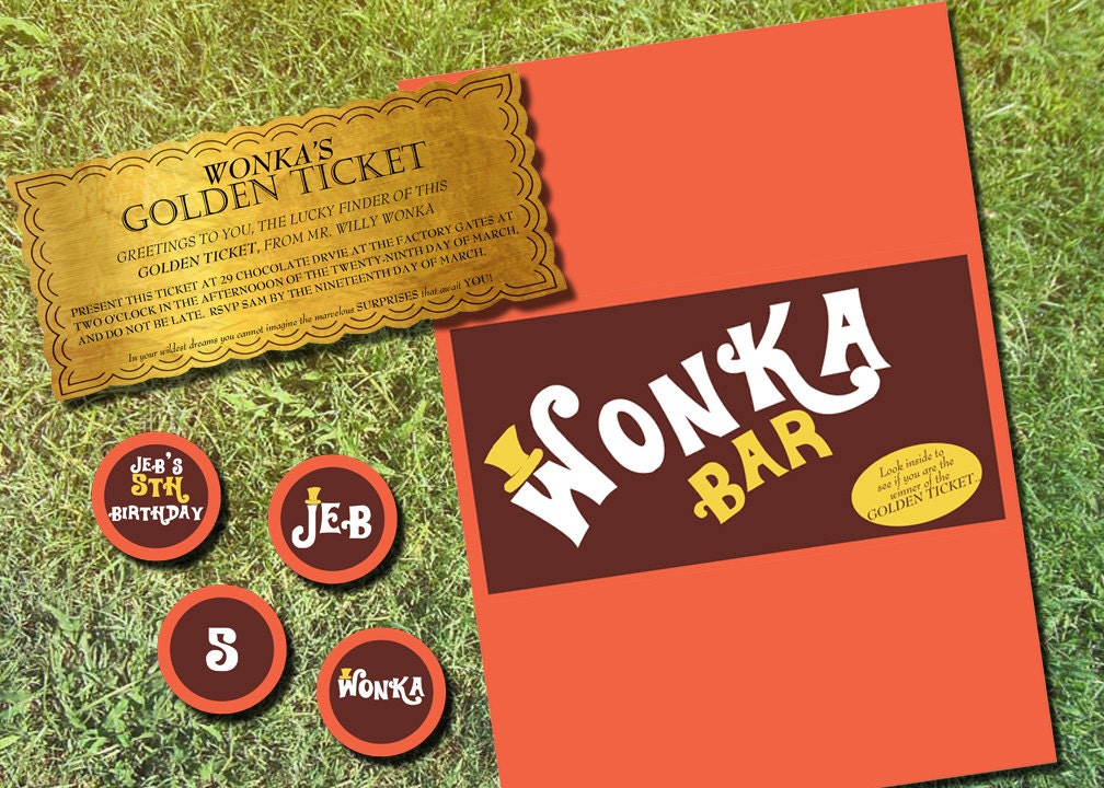 Willy Wonka Personalized Golden Ticket invitation Chocolate