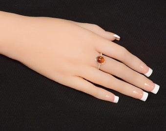 "Sterling Silver and Baltic Honey  Amber Ring ""Khloe"""