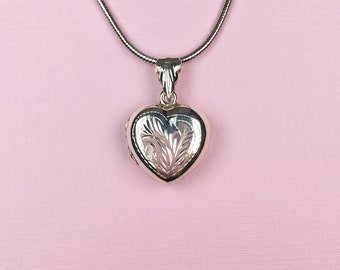 Engraved Heart Locket | Sterling Silver | Puffy Heart | Vintage