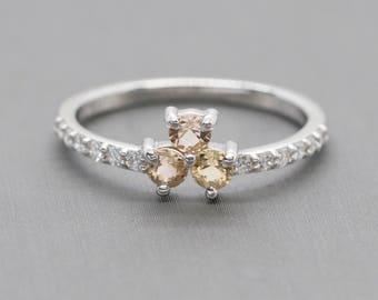 0.56ctw Imperial Topaz and Diamond 14k Flower Design Stack Band Ring, Imperial Topaz Floral Band Ring, Imperial Topaz and Diamond Band Ring