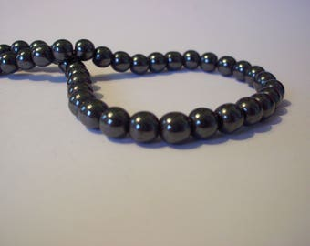 Set of 20 black gunmetal 6 mm hematite beads