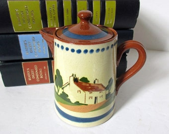 Torquay Motto Ware, Small Torquay Pitcher Creamer, Torquay Pottery Mottoes, Never Say Die, Up Man And Try, Mottoware, Cottage Pattern