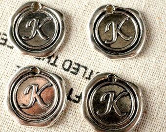 Alphabet letter K wax seal charm silver vintage style jewellery supplies