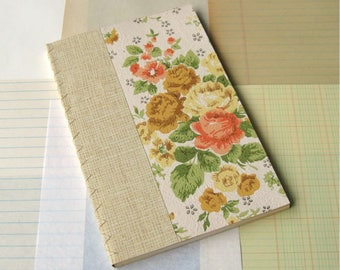 Handmade Blank Journal with Vintage Wallpaper Cover Assorted Vintage Papers Inside Orange Floral 8.5x5.5""