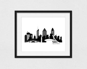 Montreal Skyline Printable // Instant Download // Printing Services Available // Foil Printing Available // Montreal Print // Skyline Art