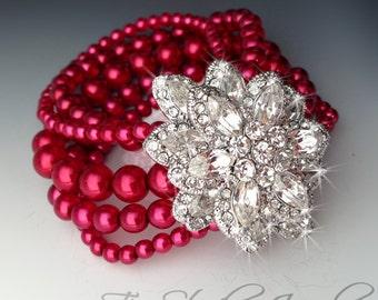 Christmas Cranberry Red Pearl Cuff Bracelet - CAROLYN