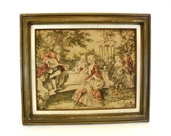 Vintage Framed Tapestry with Minstrels in Park (E6466)