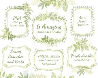 Hand drawn doodle leaf floral Frames, arrangements, leaves, wedding invitation, suite, greeting card, clipart, leaf, stickers, planner