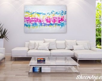 "large abstract painting, pink and white painting, abstract wall art, painting for wall, pastel painting, pastel colours, pastel art,36""x 24"""