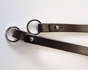 Key chain strap in brown genuine leather