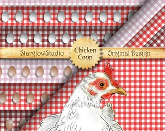 Digital Paper: Chicken Coop Hen & Farm Fresh Eggs Border on Gingham Checks, Red, Pink, Burgundy, Scrapbooking Paper, Crafting Supplies