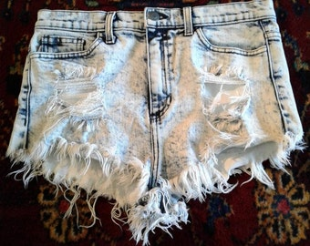 Stonewashed Denim Distressed Shorts Daisy Dukes