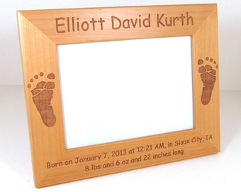 Personalized Baby Wooden Picture Frame - Choose Your Size