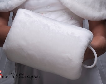 Super Size faux fur muff Winter wedding hand warmer  Available in variety of colors of beaver or sable faux furs