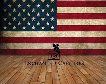 ON SALE***4th of July, Independence day digital backdrop, American flag wall with floor