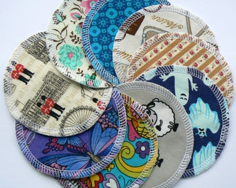 Set of 4, 6 or 8 washable, re-useable cotton or flannel face pads, make up remover, cleansing wipes, various designs
