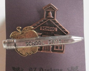 School Pin with School, Apple, Pencil - Great gift for Teacher, School Worker, Bus Driver or anyone that works in education