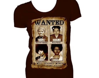 WANTED Harriet Tubman Rosa Parks Angela Davis Assata Shakur Brown Fitted Crew Neck Tshirt