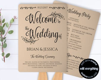 Rustic Wedding Program Template - Printable Program  - Wedding Fans - Kraft Wedding Fan Program  - Rustic Fan Program - Editable Program