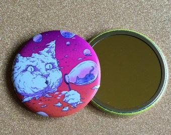 2.25 Inch Hand Mirror - Sunset Bubble Blowing Cloud Cat, Cat Artwork, Cat Mirror, Purse Mirror, Compact Mirror, Round Mirror, Pocket Mirror