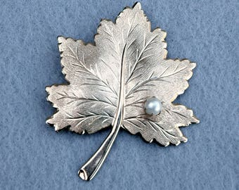 Sarah Coventry Whispering Leaf Brooch Vintage 1968
