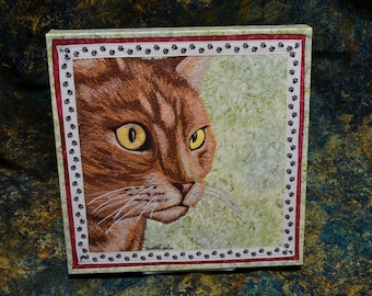 Tabby Cat - Stretched Canvas Giclée Print of Thread Painted Art Quilt - original design - by NanetteSewZ