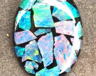 Australian Opal Mosaic-Art Stone Gemstones 25x18mm Oval Shape