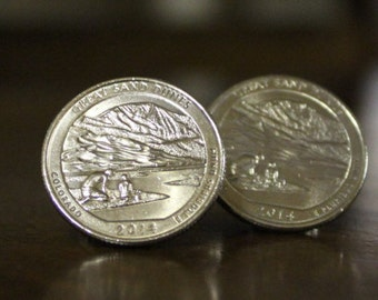 Great Sand Dunes, Quarter Cuff Links, Colorado Cufflinks, America the Beautiful 2014, father's day gift, father and son