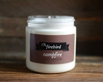 Campfire Body Lotion, Avocado and Shea Butter Lotion - Fall Scent