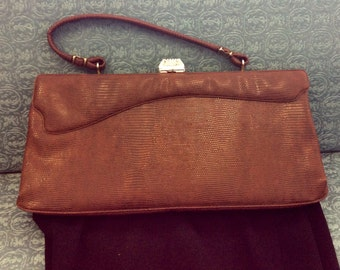 Chocolate brown vintage faux croc hand bag