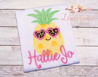 Summer Pineapple Monogrammed Applique Shirt or Bodysuit - Personalized, Embroidered, Monogram, Birthday, for girls