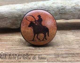 "1.5"" Cowboy Silhouette Ceramic Knob - Horse - Sunset Red Orange Yellow Western Drawer Pull - Rustic Cowboy Lasso Theme Bull Cabinet Knob"