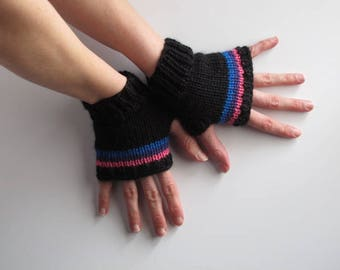 Bi pride short fingerless gloves, ready to ship